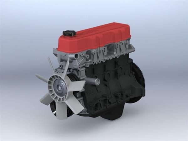 Wydrukowany model silnika czterocylindrowego Toyota 22RE