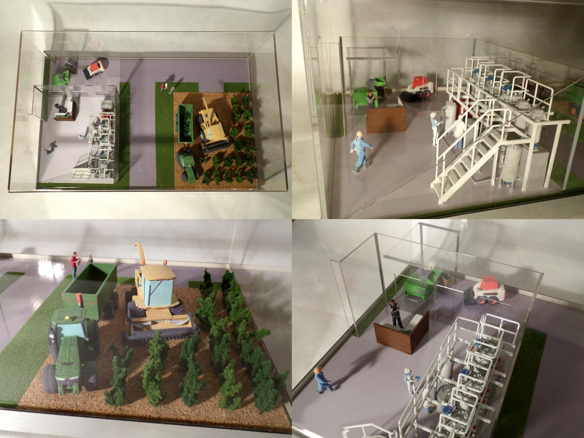 druk 3D CJP makieta instalacji do produkcji bioetanolu z wierzby energetycznej