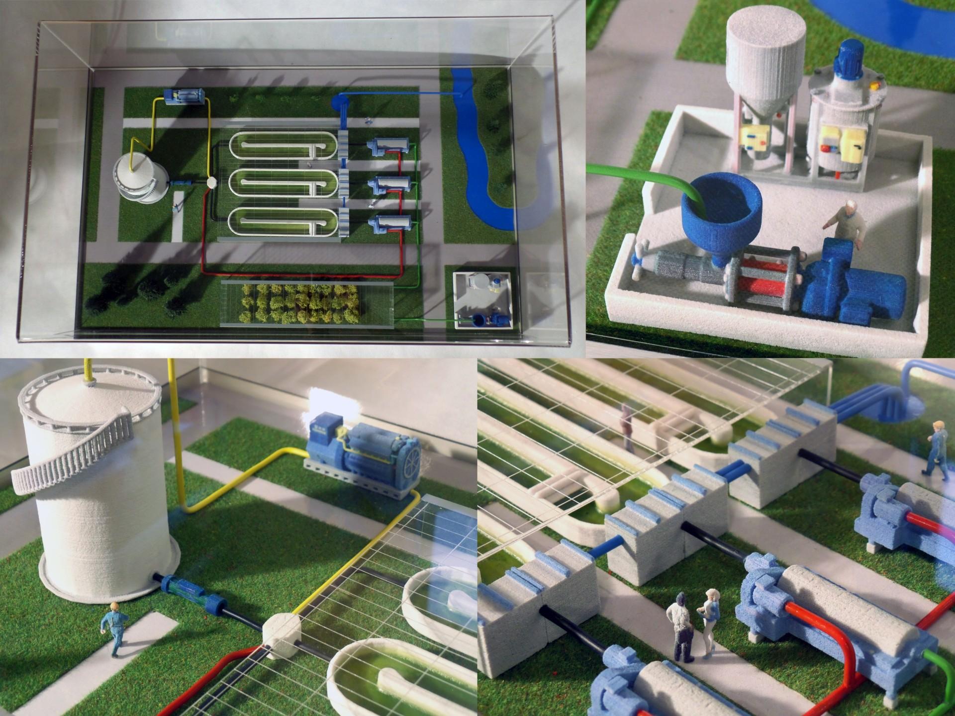druk 3D CJP makieta instalacji do wytwarzania biopaliwa z alg