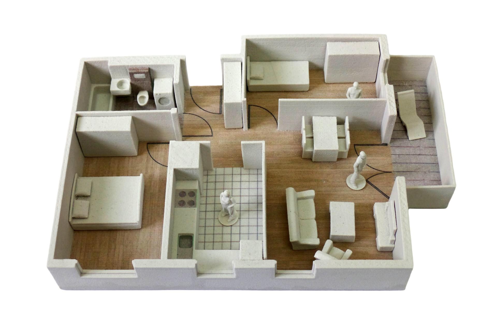 druk 3D CJP makieta modelowego mieszkania dla najwiekszego wroclawskiego dewelopera
