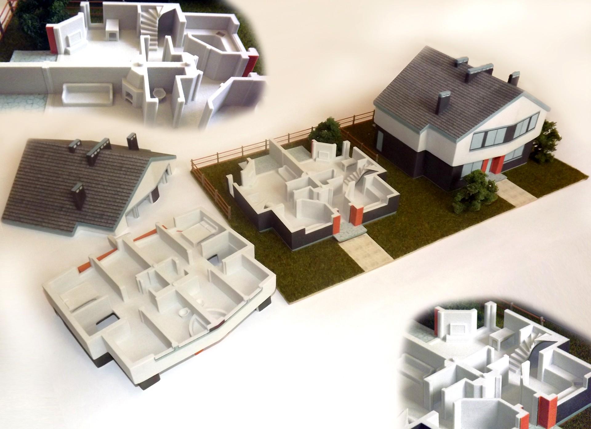 druk 3D CJP makieta powtarzalnych domow blizniaczych dla dewelopera Inkom