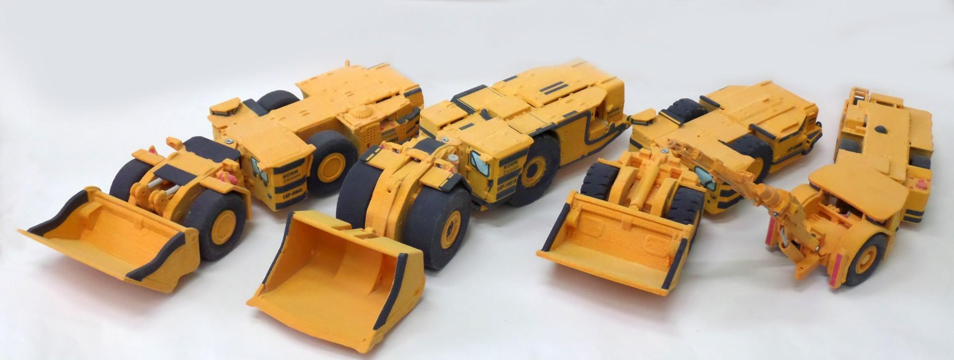 druk 3D CJP wykonanie pokazowych modeli pojazdow gorniczych kompanii gorniczej KGHM Zanam